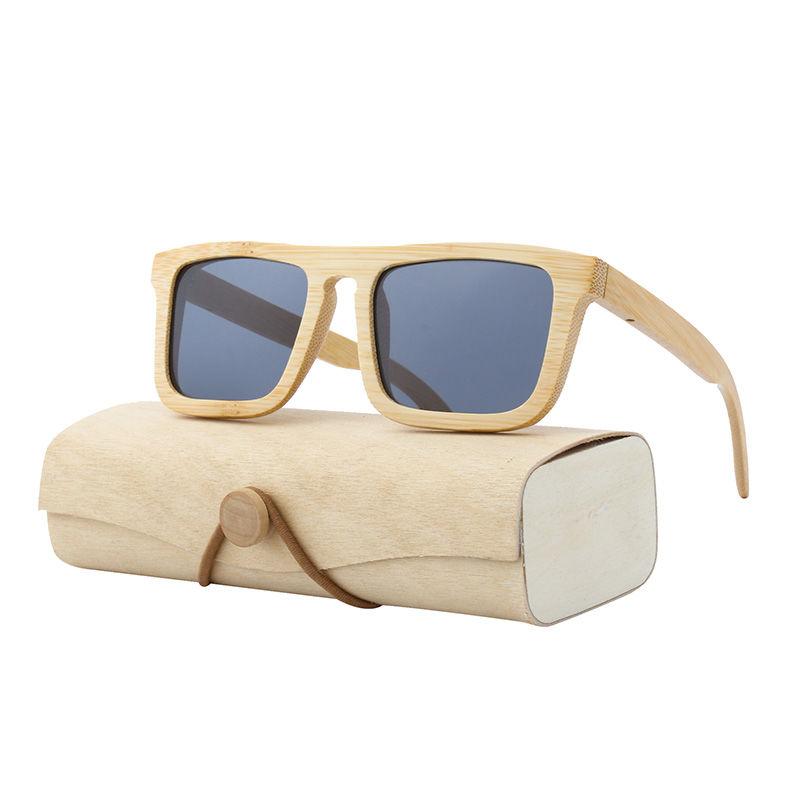 EUGENIA Dropshipping PC mirror lens bamboo wooden frame own bran bamboo case sunglasses