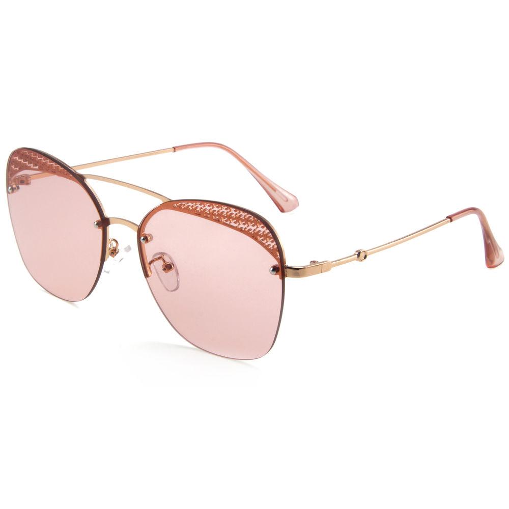 EUGENIA 2019 half rimless frame shades glasses cat eye mirror make you glow in the dark girl sunglasses
