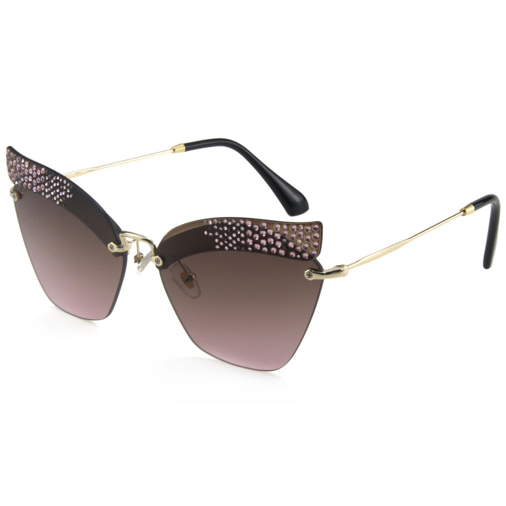 EUGENIA European Style Cat Eye Rimless Frame Women 2019 Sunglasses