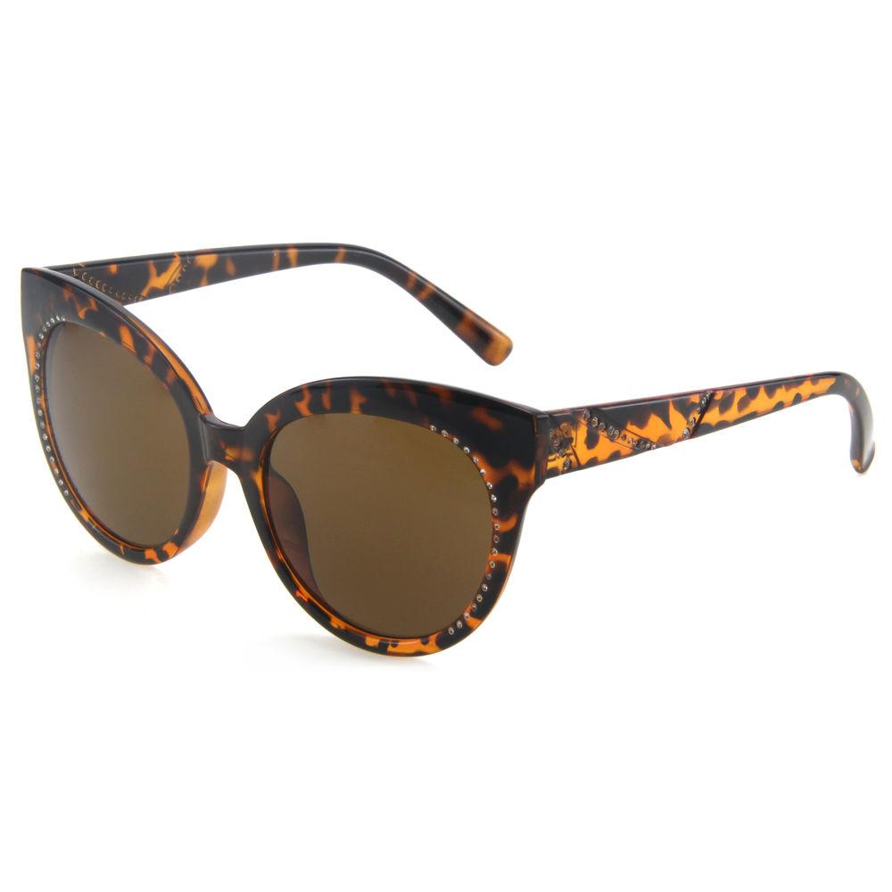 EUGENIA diamond decorated cat eye stylish custom color and lens coffee tortoiseshell sunglasses