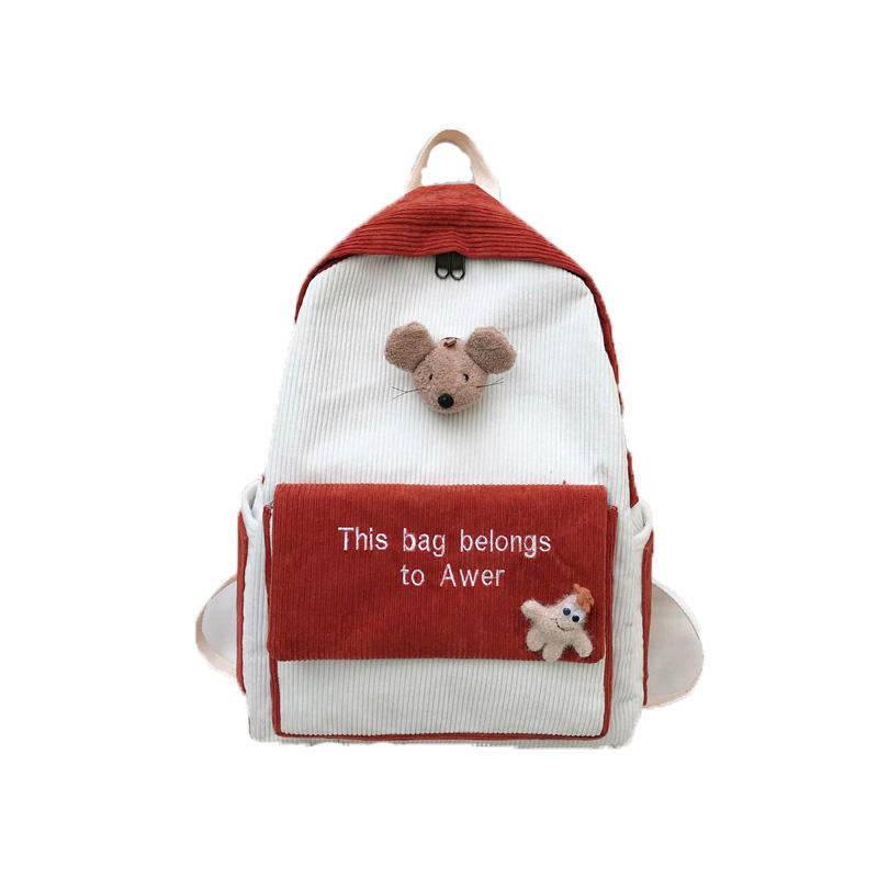 mochilas CuteStripe Female Corduroy Backpack Women Letter Embroidery School Bag Girl Cute Backpack Harajuku Fashion Lady Bag Student bags