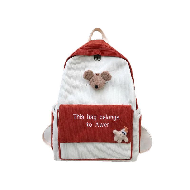 mochilas CuteStripe Female Corduroy Backpack Women Letter Embroidery School Bag Girl Cute Backpack Harajuku Fashion Lady Bag Student bags