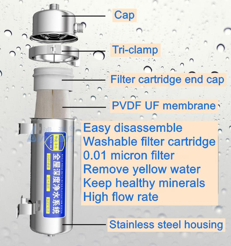 House home Washable PVDF UF membrane Water Purifier for Kitchen Outdoor yellow water filter 1000 1500 2000 3500 6000 L/H