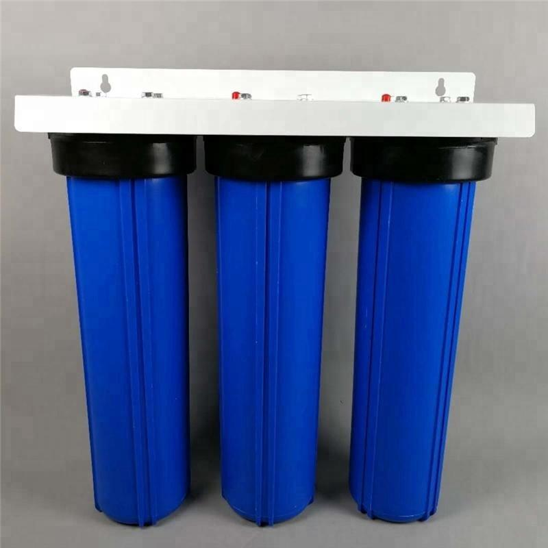10 20 inch Jumbo 3 Stage Triple Big Blue Whole House filter Water Filtration System with floor stand