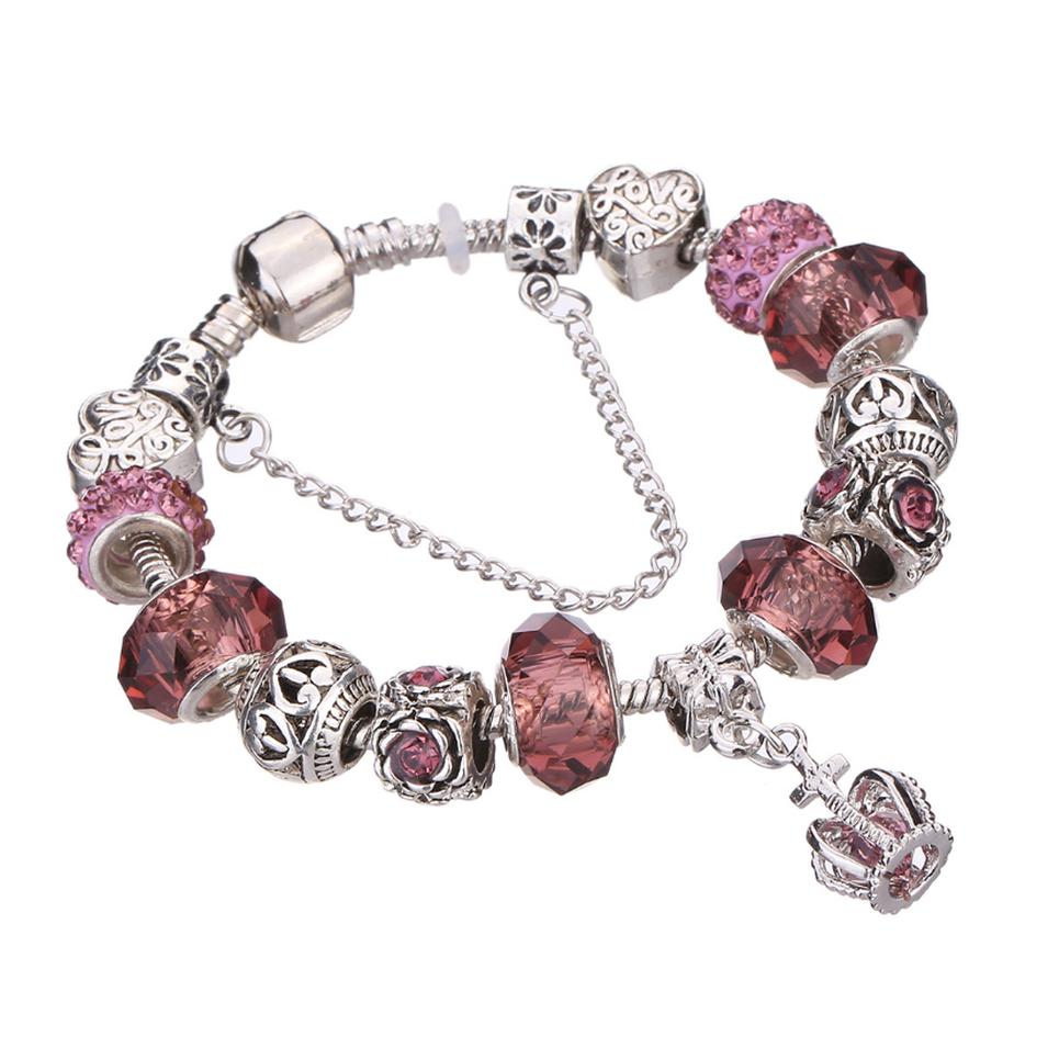 Charming crystal stone silver charm bracelet