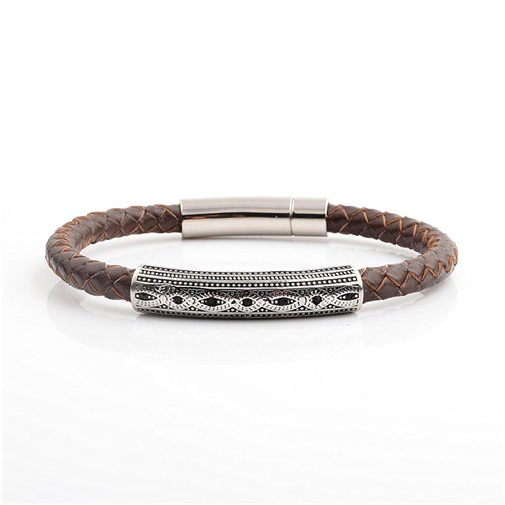 Black Braided Leather Design Jaipur India Mens Silver Bracelet