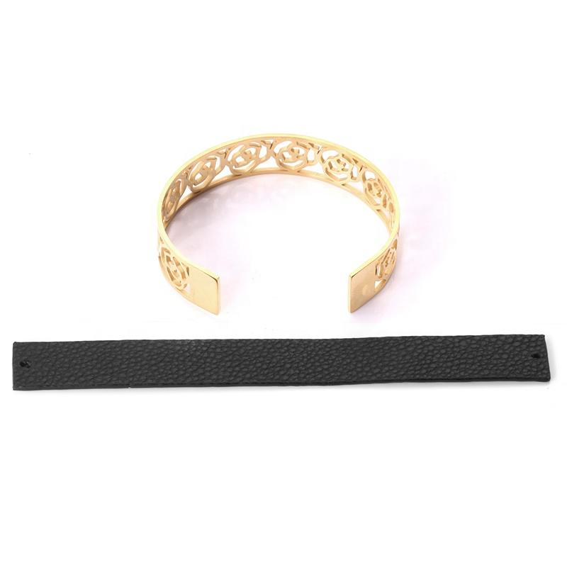 Best Price Flower Engraved 18K Gold Bracelets Leather Bangle For Men
