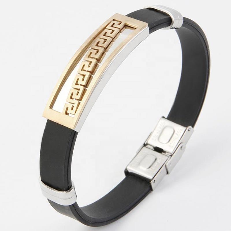 Elegant Popular Fret Laser Engraved Fashion Bracelet Titanium