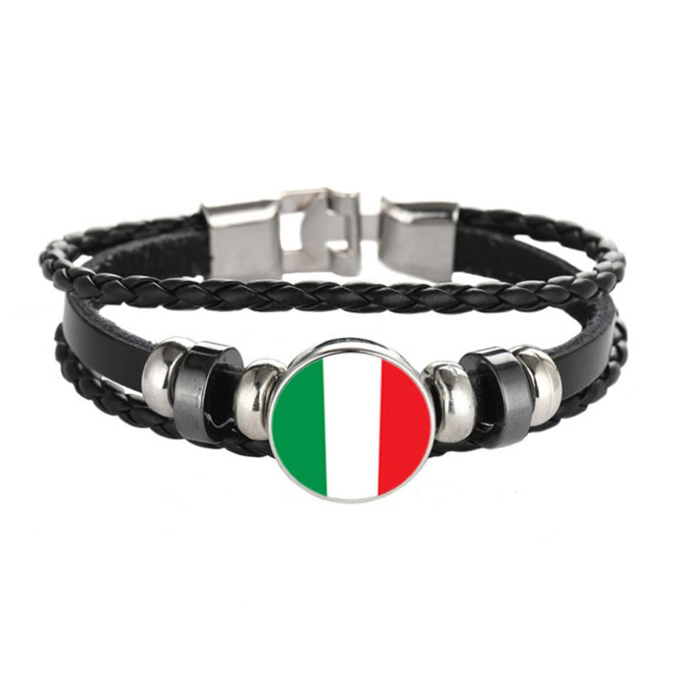 Unique design wholesale jewelry country flags thread bracelet