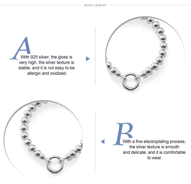 Smart bead link women love 925 sterling silver bracelet