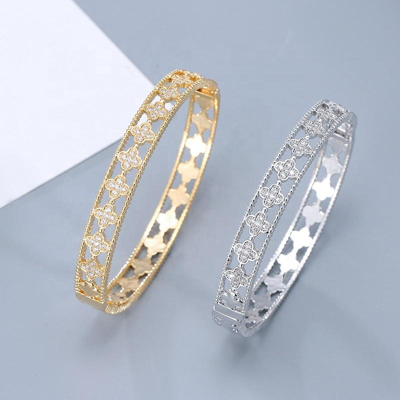 Fashion Silver Or Gold Color Cz Clover Chinese Lucky Bracelets
