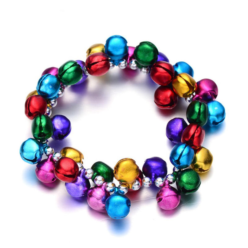 Christmas ornaments high quality cheap colorful bell bracelets