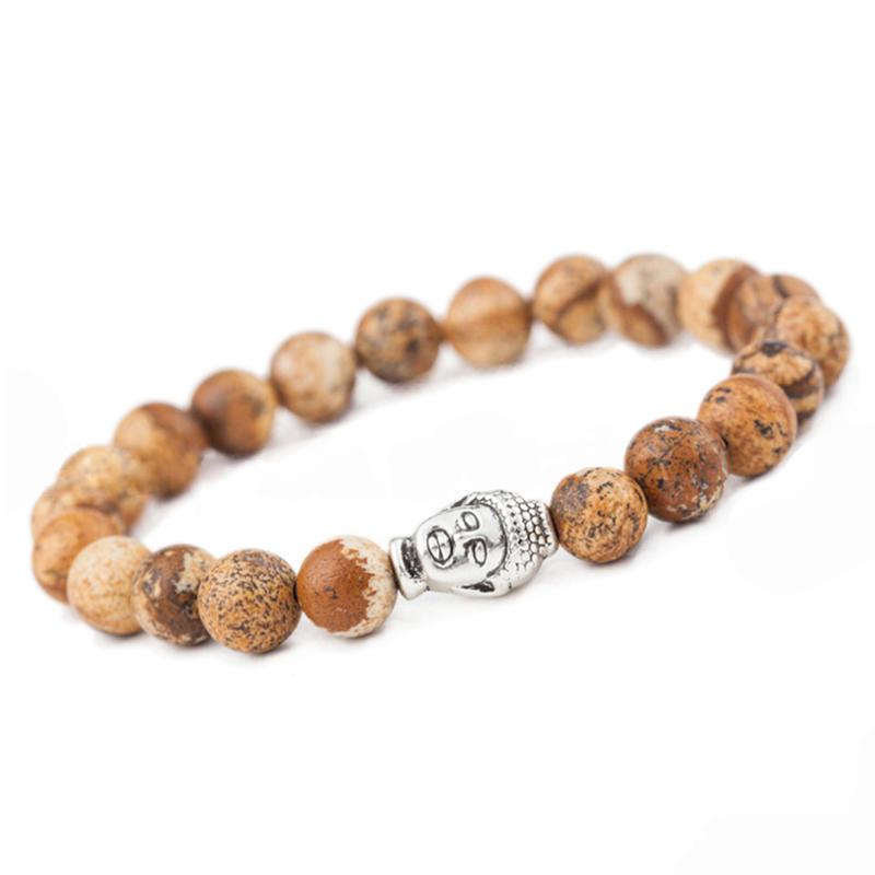 Simple style wooden beads chain design silver slide bracelet