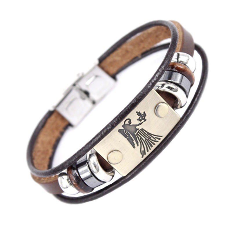 Factory Wholesale Love Braided Leather Zodiac Engraved Stainless Steel Women Bangle Bracelet Clasp