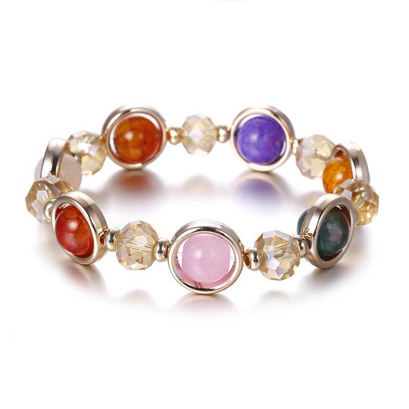 Summer Bohemia Style Multi Colored Stone Beaded Bracelet For Women