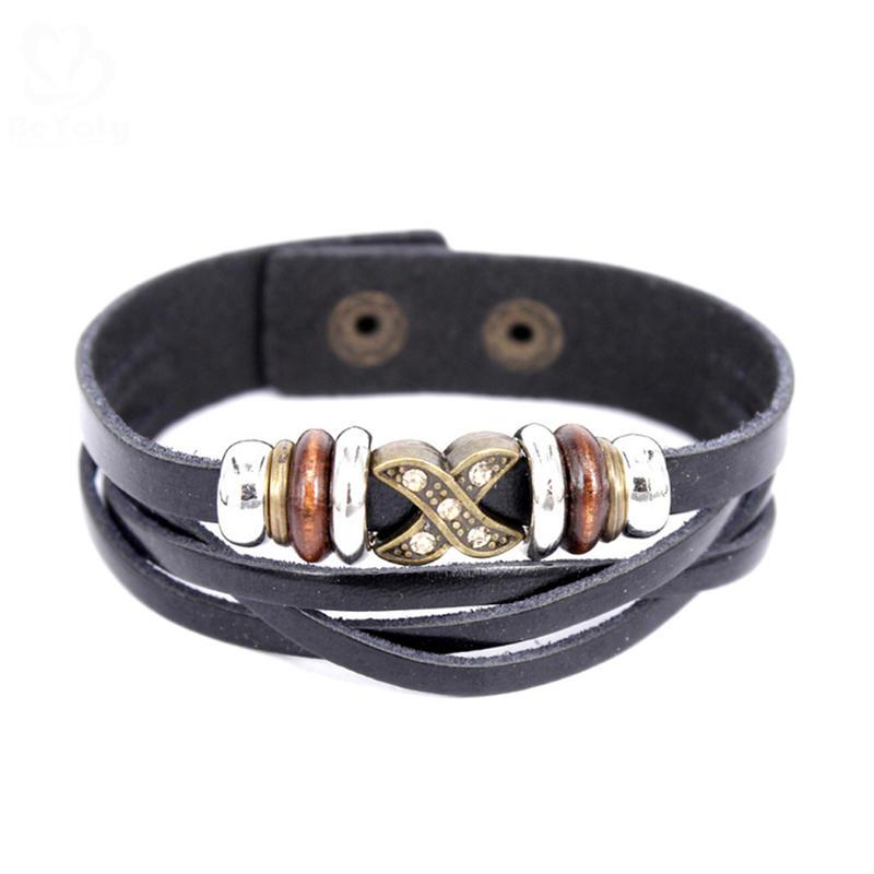 Wholesale Silver Charm Bangle Friendship Jewelry 18K Gold Leather Mens Bracelet