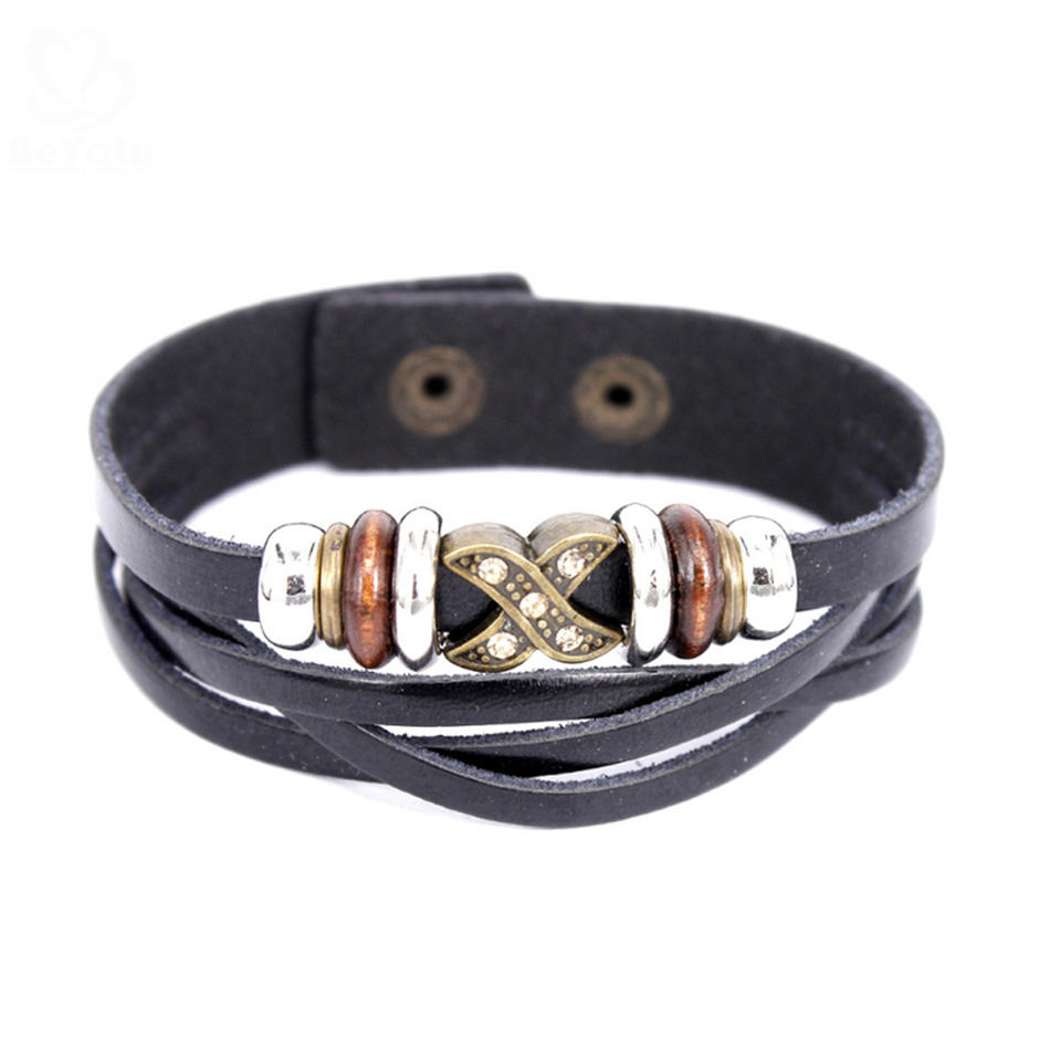 Wholesale Silver Charm Bangle Friendship Jewelry 18K Gold Leather Mens Bracelet