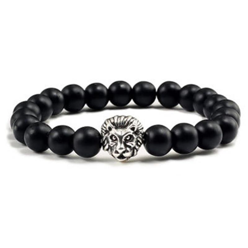 Customized Silver Lion Engraved Men Beaded Bracelet
