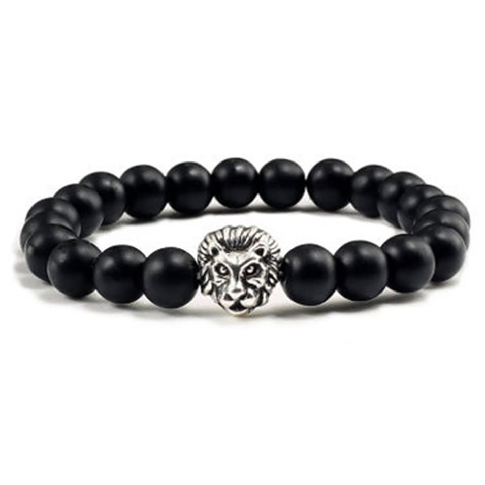 Customized Silver Lion Engraved Men Beaded Bracelet