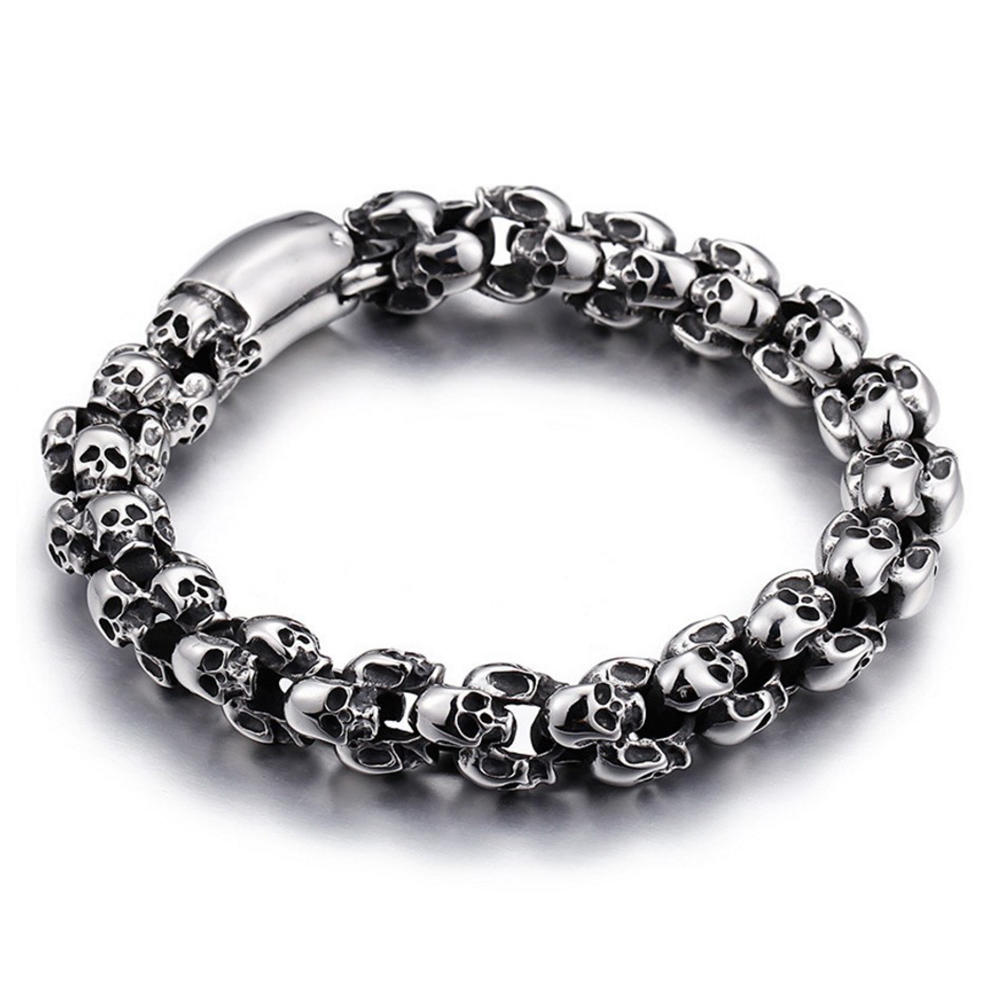 Custom engraved cheap 925 sterling silver bracelet skull
