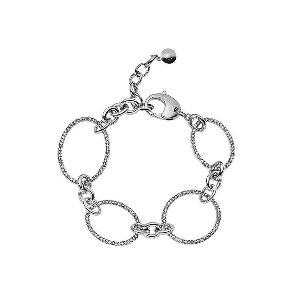Women cz circle chain 925 silver charm bracelet