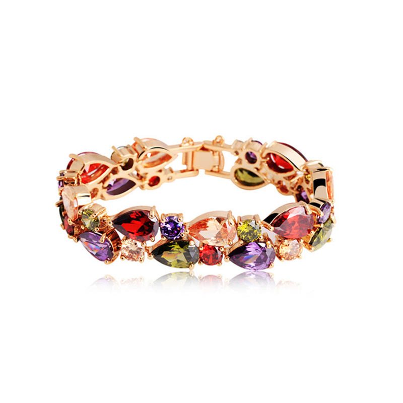 Bohemia Style Gold Plated Amethyst Multi Color Lucky Stone Bracelets
