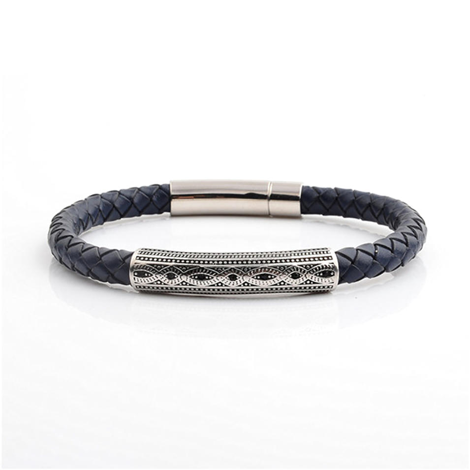 Black Braided Leather Design Jaipur India Mens Silver Bracelet