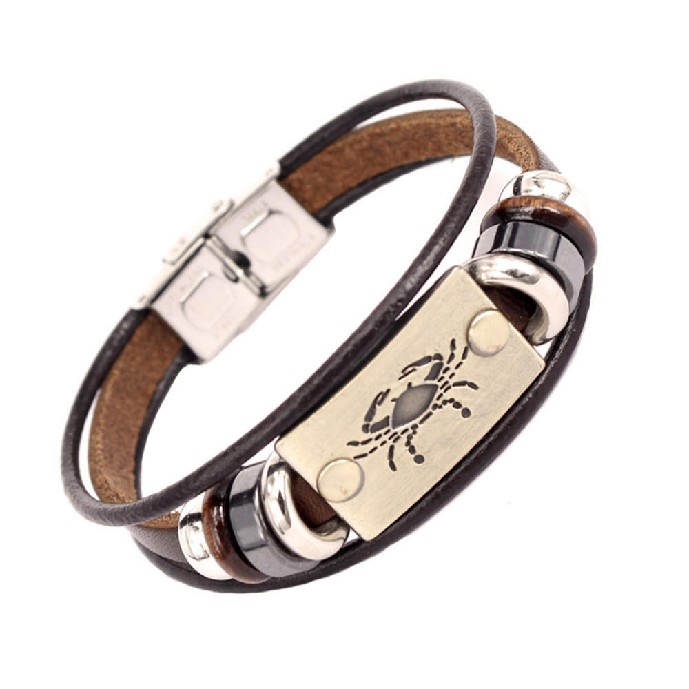 Wholesale Love Zodiac Engraved Braided Leather Stainless Steel Women Bangle Bracelet Clasp