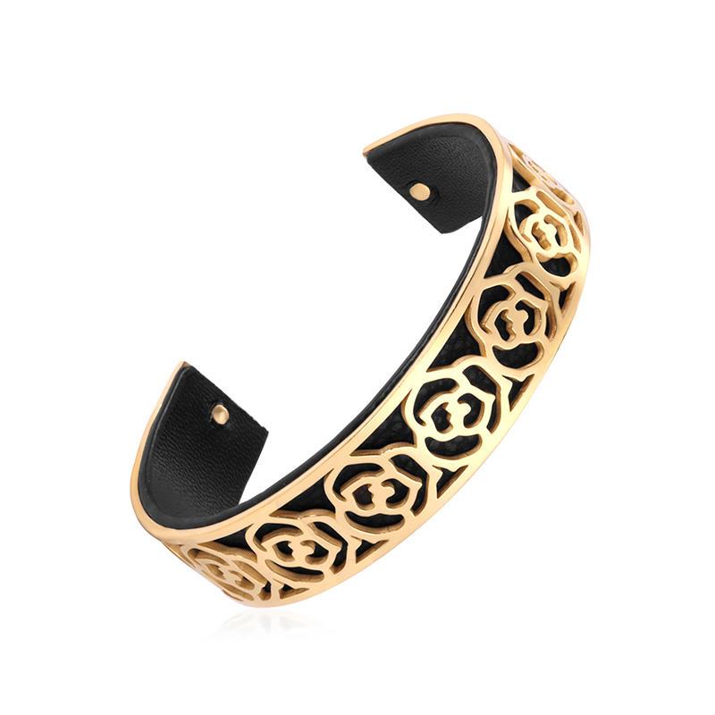 Retro Men's Casual Pair Of Leather Bracelet, Gold Flower Bangle