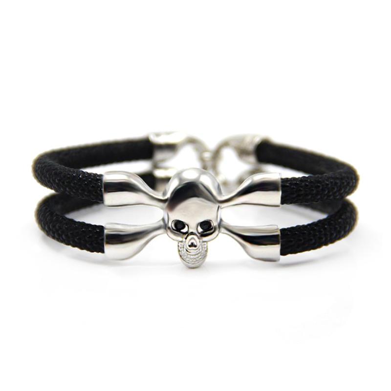 Black rope design alloy 925 sterling silver men's charm bracelet