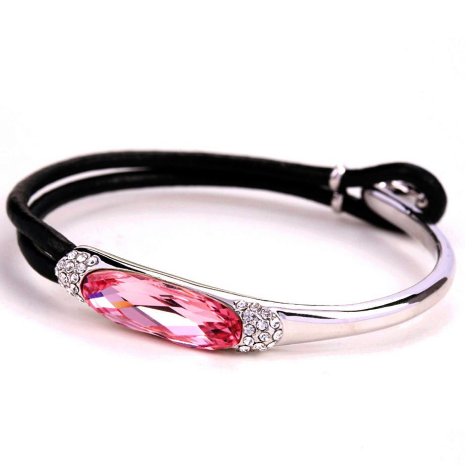 Modern fashion silver branded leather bracelet