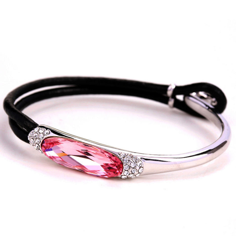 Modern fashion silver branded leather bracelet