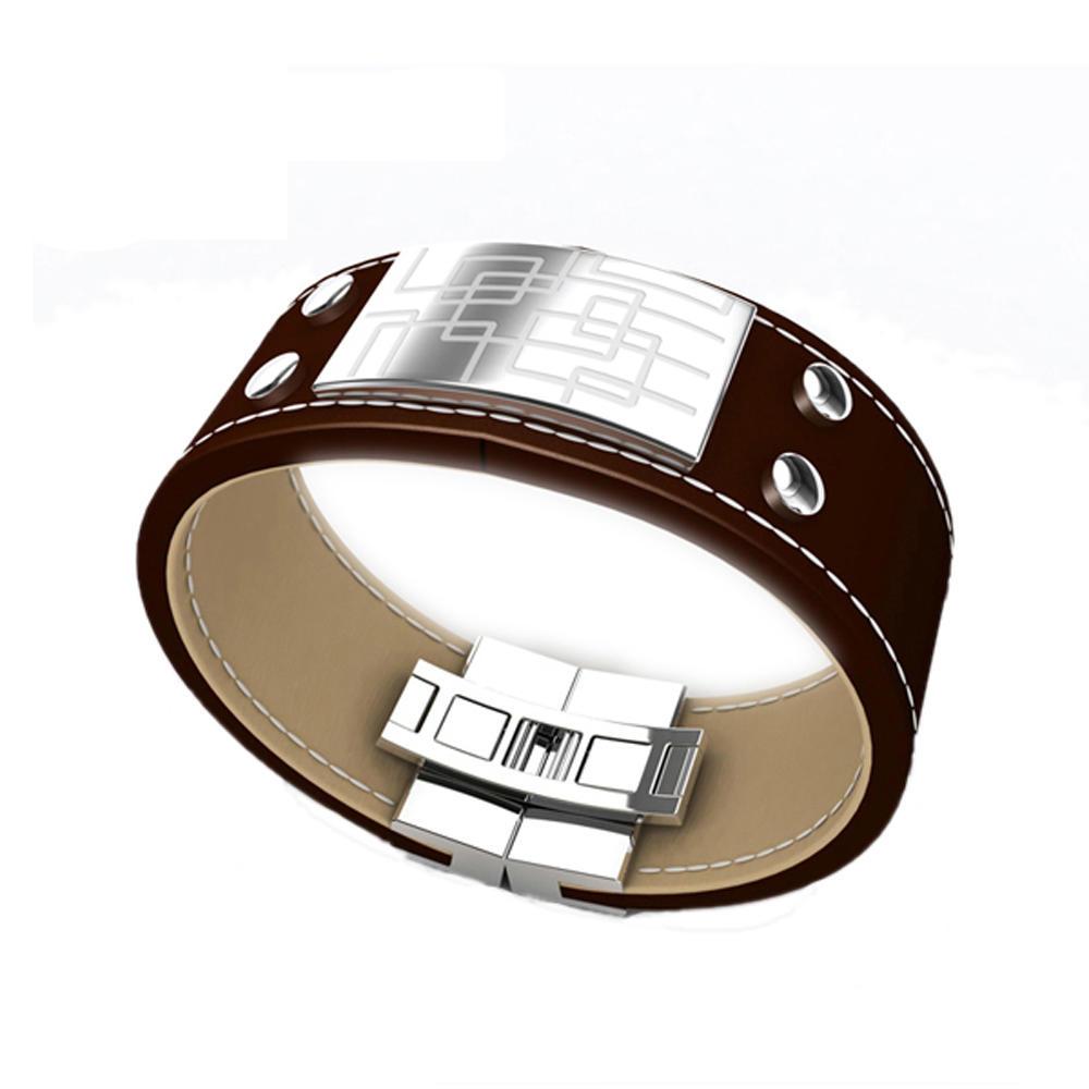 Black tone alphabet design mens leather cuff bracelets