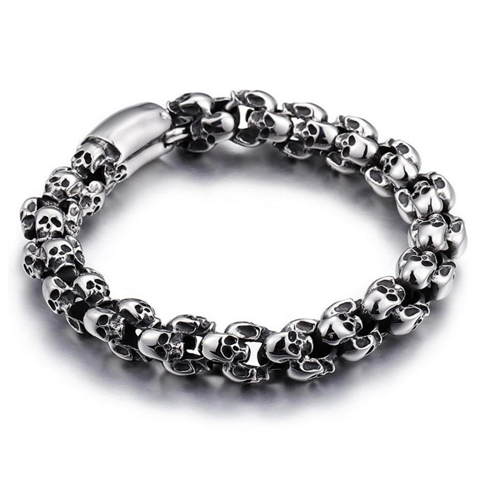 Brilliant design cool men wear skull black beads bracelet