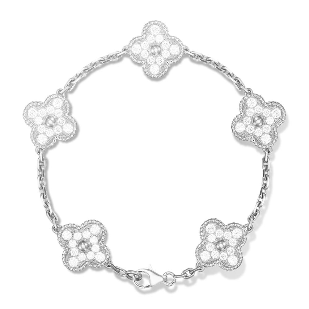 High Quality Cz Clover Design Chinese Good Luck Bracelet