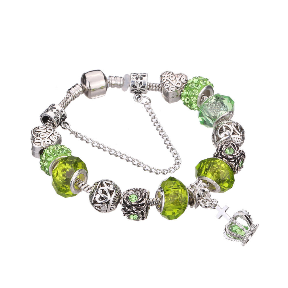 Charming crystal stone silver charm bracelet
