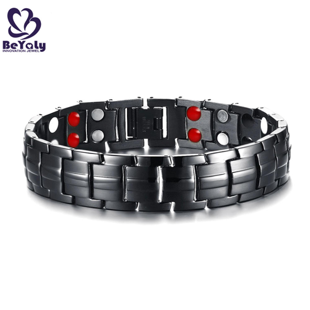 Fashion Custom Fitness Magnetic Stainless Steel Germanium Bead Bracelet Men