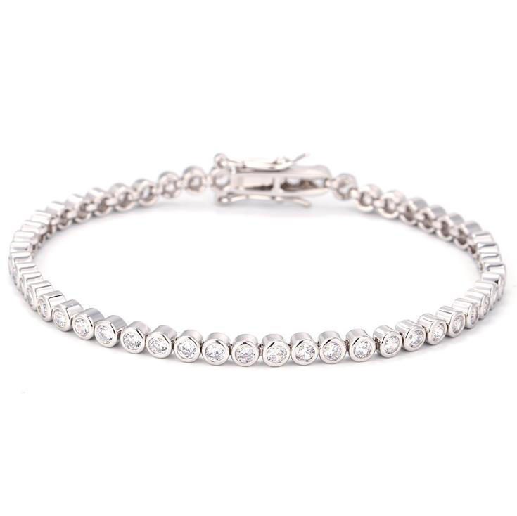 Extremely Stylish Cz Chain 925 Sterling Silver Tennis Bracelet