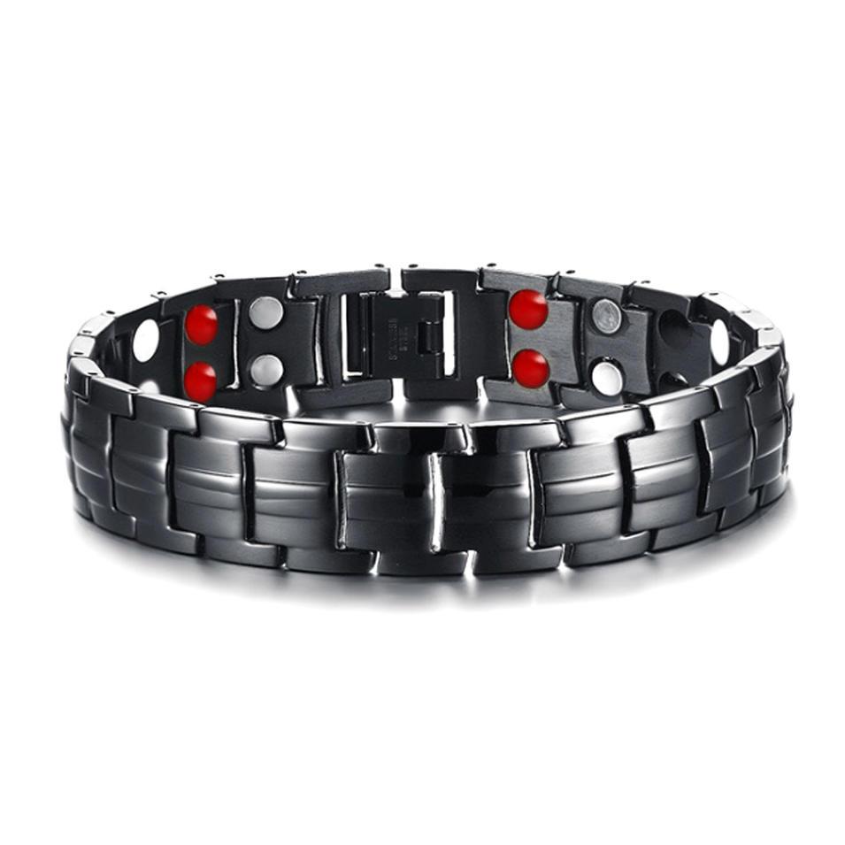 Black Fashion Custom Fitness Magnetic Stainless Steel Germanium Bead Bracelet Men