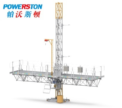 Mast climbing working platform for building construction