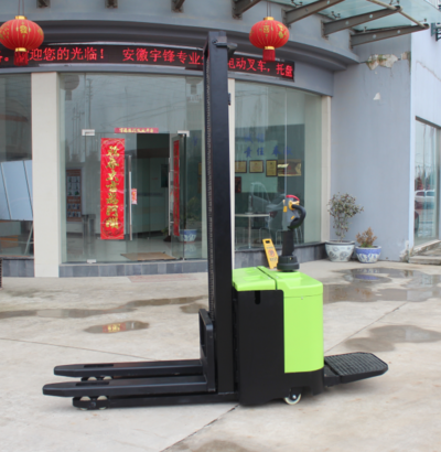 Compact Size High Efficiency Electric Pallet Stacker Battery Powered 1.5 Ton Loading Capacity Forklift on Promotion