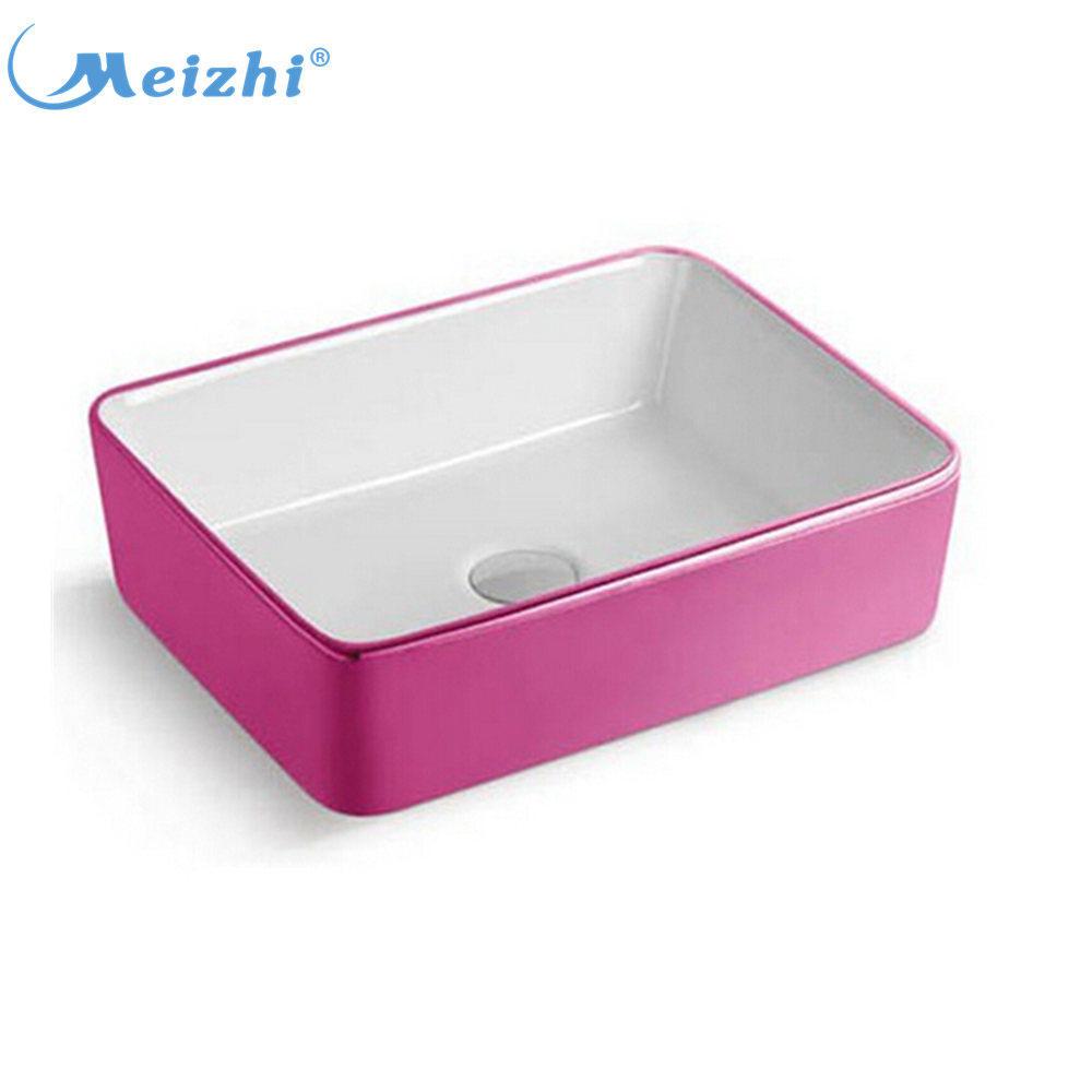 Square ceramic basin pink bathroom sink