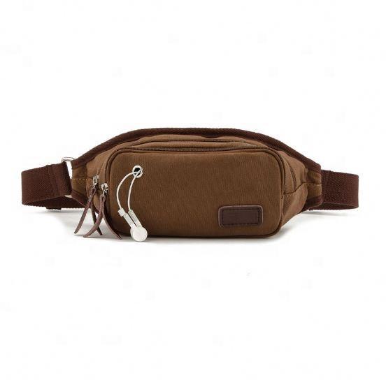 Fashion vintage design brown Canvas running Waist belt Bags for men minimalist man outdoor sports fanny bum bag waist pack 2020