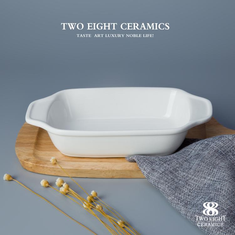 465ml White Color Porcelain Rect Ceramic Chinese Soup Bowls enamel baking tray