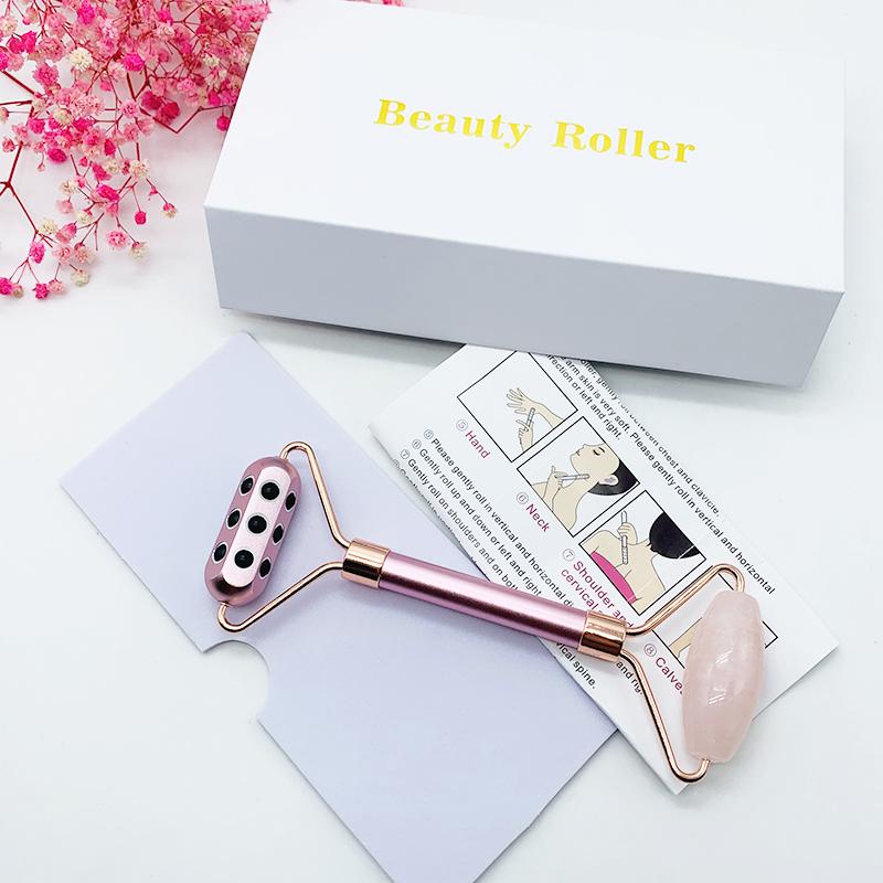 2021 Hot Sale Massage Skin Care Jade Roller Wholesale Stone Case Facial Custome Pink Jade Roller For Face