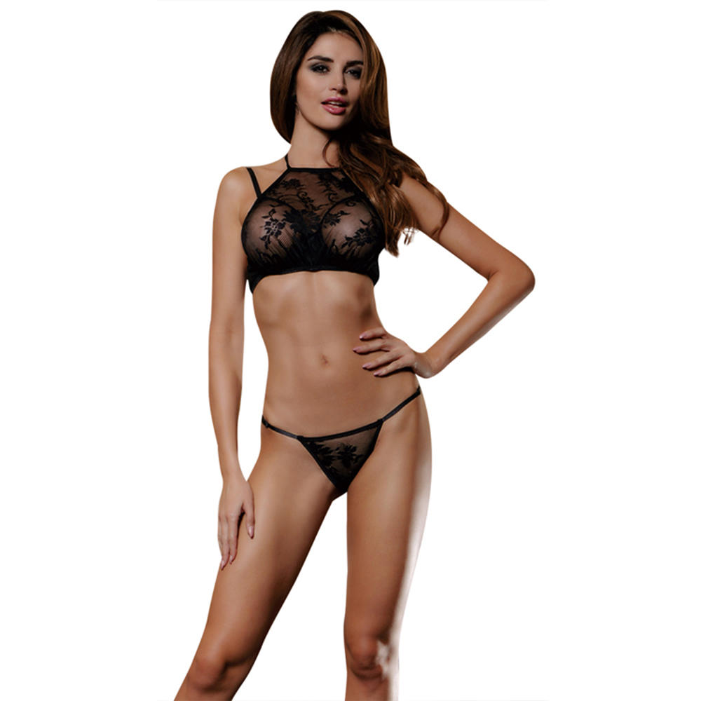 See Through Elastic Black Lace Mature Ladies Sexy Underwear with Hole