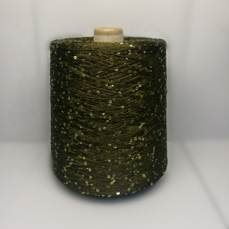 Free sample cheap pricepolyester sequin yarnfor crocheting/ 100% Polyester sequinsYarn with many colors