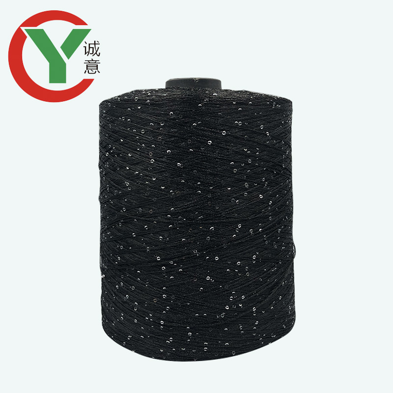 Hot Sale In Russia 100% Polyester Paillette Bling knitting sequin beads yarn