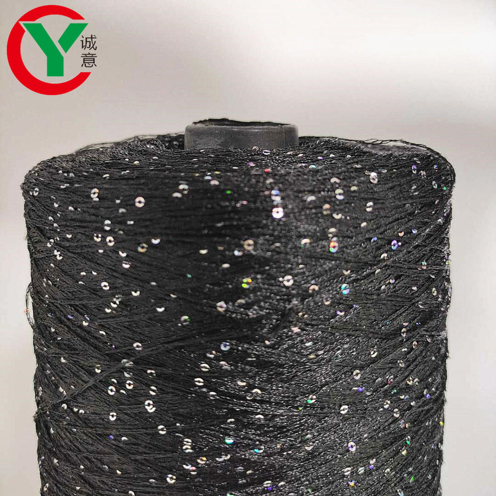 100% polyester threadwith sequin / color black thread withsilver glittery