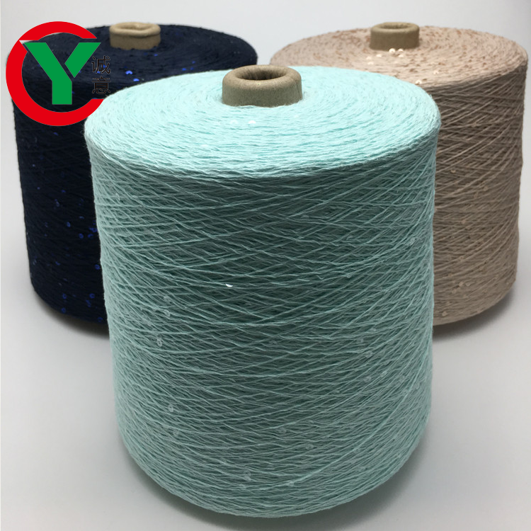 3mm transparent sequin 100% cotton fancy yarn for hand knitting yarn/single 2 mm glitterycombed cotton thread